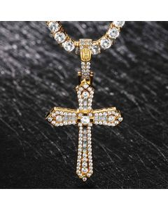 Baguette & Round Stones Cross Pendant in Gold