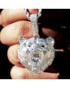 Roaring Bear Pendant in White Gold