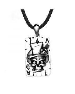 Skull Ace of Spade Poker Card Stainless Steel Pendant