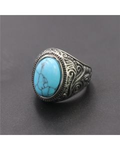 Vintage Turquoise Stainless Steel Totem Ring