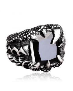 Black Stone Dragon Claw Titanium Steel Ring