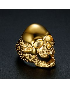 Skull Titanium Steel Ring in Gold