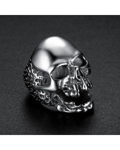 Skull Titanium Steel Ring in White Gold