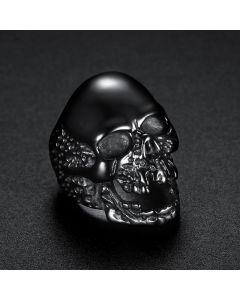Skull Titanium Steel Ring in Black Gold