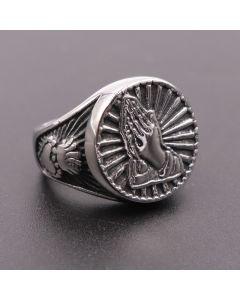 Vintage Praying Hand Titanium Steel Ring