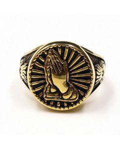 Vintage Gold Praying Hand Titanium Steel Ring