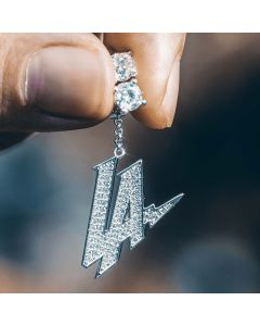 "Iced ""LA"" Asymmetric Earrings in White Gold"