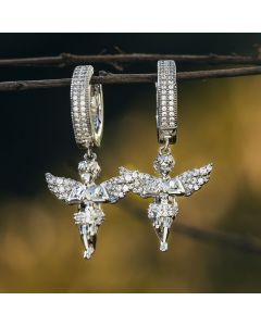 Iced Praying Angel Dangle Earrings in White Gold