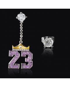 "Iced Crown ""23"" Asymmetric Earrings in White Gold"