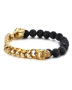 Half Spirtual Stones and Half Steel Cuban Chain Skull Bracelet in Gold