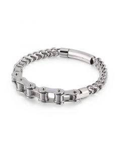 Bike Chain with Franco Steel Bracelet in White Gold