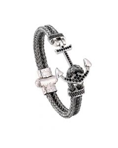 Braided Steel Wire White Gold Anchor Bracelet