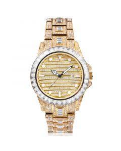 Baguette & Round Cut Luminous Dial Watch in Gold