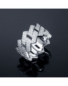 14mm Iced Prong Cuban Ring in White Gold