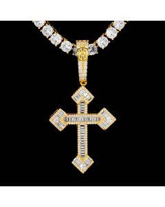 Baguette Stones Christian Cross Pendant in Gold