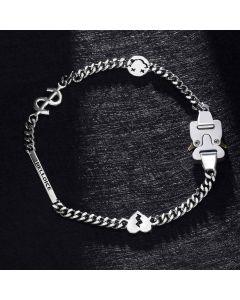 Custom Letters Bar Belt Buckle Cuban Chain with Smile Face, Dollar, Broken Heart Sign