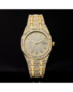 Iced Luxury Stylish Octagon Shaped Dial Watch in Gold