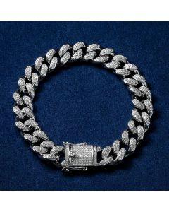 13mm 18K White Gold Finish Iced Cuban Bracelet