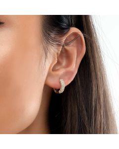 Women's Iced Hoop Earring in Gold