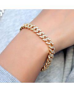 Women's Iced 8mm Cuban Link Bracelet in Gold