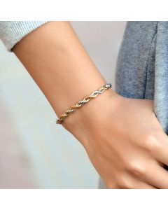 Women's 5mm Gold & Silver Two-Tone Rope Bracelet