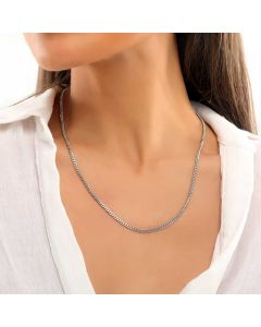 Women's 3mm Cuban Chain in White Gold