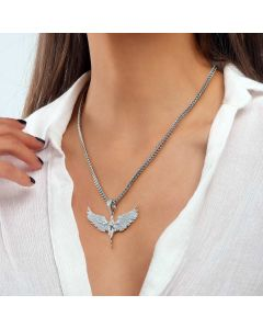 Women's Iced Angel Pendant in White Gold