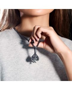 Women's Iced Ace of Spades Pendant in Black Gold