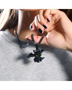 Women's Iced Little Dragon Pendant in Black Gold