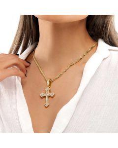 Women's Baguette Stones Christian Cross Pendant in Gold