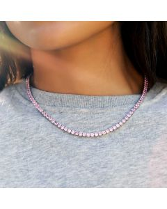 Women's 4mm Pink Tennis Chain in White Gold
