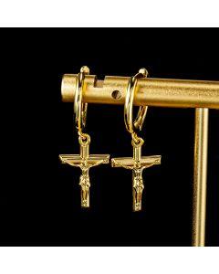 Crucifixion of Jesus Cross Earrings in Gold