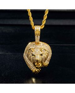 The Walking Bear Pendant in Gold