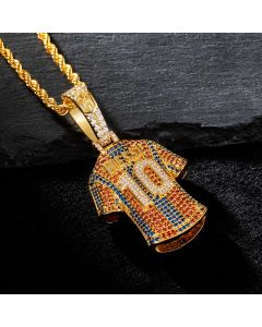 """Iced """"10"""" Jersey Pendant in Gold"""