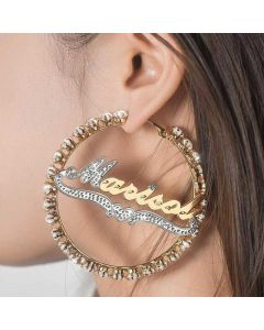 Personalized Iced Two Tone Name Hoop Earrings