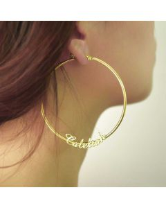 Personalized Name Hoop Earrings in Gold