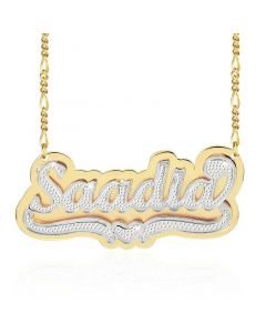 Custom Double Layered Two Tone Heart Name Necklace