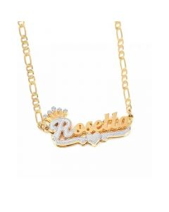 Personalized Two Tone Crown Heart Name Necklace