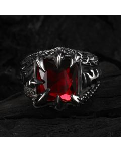Cool Dragon Claw Stainless Steel Red CZ Ring