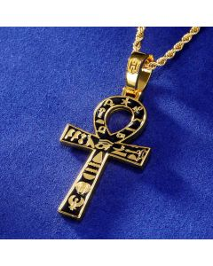 Egyptian Ankh Cross with Hieroglyphs Pendant in Gold