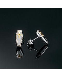 Gold Cross Coffin Stud Earrings