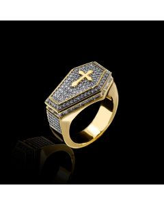 Iced Cross Coffin Ring in Gold