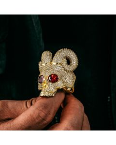 Sparkling Satanic Demon Skull Ring in Gold