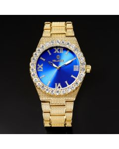 Iced Blue Luminous Roman Numerals Men's Watch in Gold