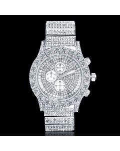 Iced Round Cut Luminous Men's Watch in White Gold