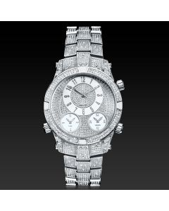 Micro Paved Arabic Numerals Men's Watch in White Gold