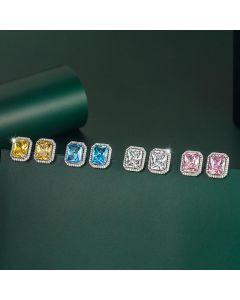 Radiant Cut Halo Stud Earrings