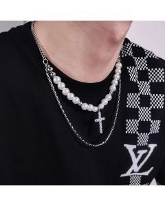 Pearl and Stainless Steel Layered Necklace with Cross Charms