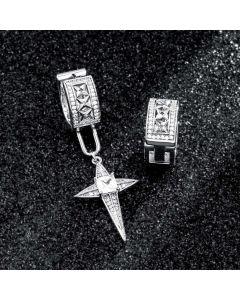 Iced Detachable Star Asymmetric Earrings