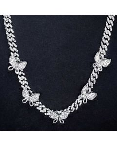 Iced Miami Cuban Link Chain With Rotating Butterfly in White Gold